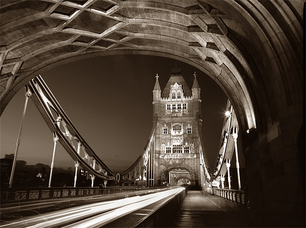 Tower Bridge London at Night, Sepia Toned Canvas print by Darren  Galpin