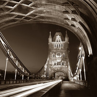 Buy canvas prints of Tower Bridge London at Night, Sepia Toned by Darren  Galpin