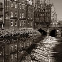 Buy canvas prints of River Don Weir & Ladys Bridge, Sheffield by Darren  Galpin