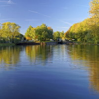 Buy canvas prints of Autumn Colours, Sheffield Canal by Darren  Galpin