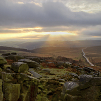 Buy canvas prints of Burbage Rocks Sunset by Darren  Galpin