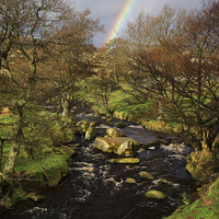 Buy canvas prints of Rainbow over Burbage Brook by Darren  Galpin