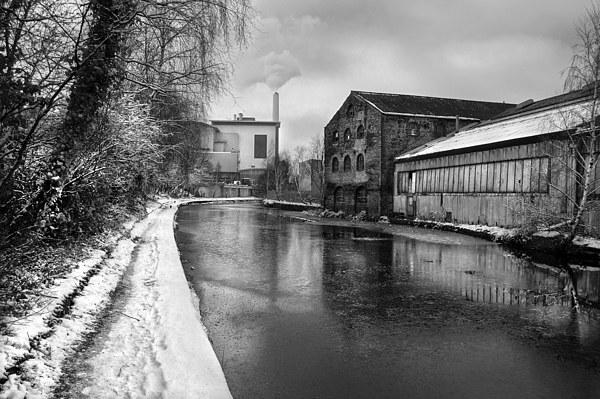 Sheffield Canal Frozen Framed Mounted Print by Darren  Galpin