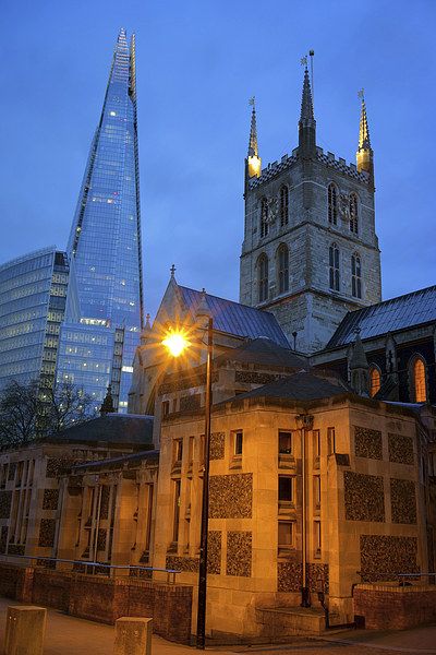 The Shard & Southwark Cathedral at Night Canvas print by Darren  Galpin