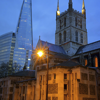 Buy canvas prints of The Shard & Southwark Cathedral at Night by Darren  Galpin
