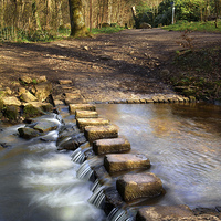 Buy canvas prints of Porter Brook Stepping Stones & Falls by Darren  Galpin