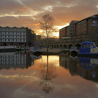 Buy canvas prints of Victoria Quays Sunset, Sheffield by Darren  Galpin