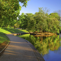 Buy canvas prints of Hillsborough Park Lake, Sheffield by Darren  Galpin