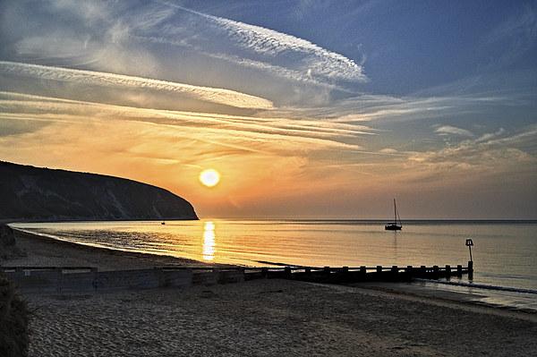 Swanage Bay Sunrise Canvas print by Darren  Galpin