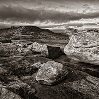 Buy canvas prints of Higger Tor & Carl Wark in Sepia by Darren  Galpin