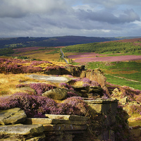 Buy canvas prints of Burbage Rocks and Valley in Summer by Darren  Galpin