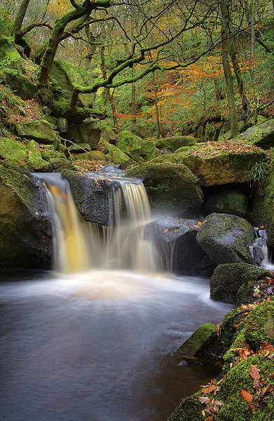 Cascading Waterfalls in Padley Gorge  Canvas print by Darren Galpin