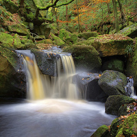 Buy canvas prints of Cascading Waterfalls in Padley Gorge  by Darren Galpin