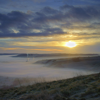 Buy canvas prints of Sunrise over Hope Valley Mist by Darren Galpin
