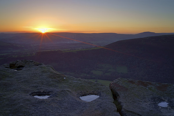 Bamford Edge Sunset  Canvas print by Darren Galpin