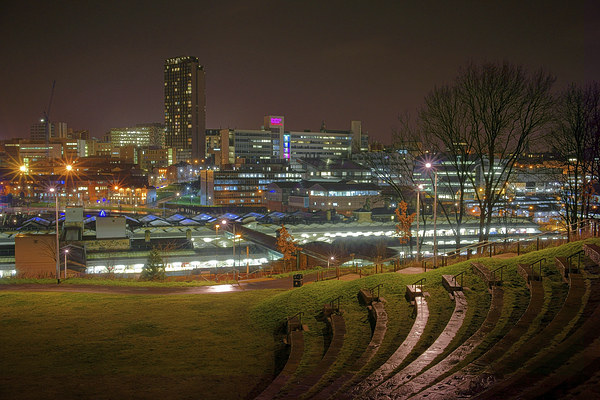 Sheffield City Centre at Night  Canvas print by Darren Galpin