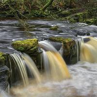 Buy canvas prints of Yorkshire Bridge Falls and River Derwent by Darren Galpin