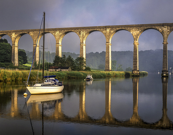Calstock Viaduct and River Tamar Reflections Canvas print by Darren Galpin