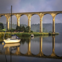 Buy canvas prints of Calstock Viaduct and River Tamar Reflections by Darren Galpin