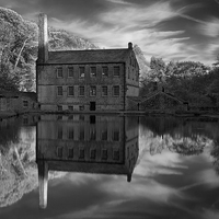 Buy canvas prints of Gibson Mill Reflections  by Darren Galpin