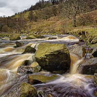Buy canvas prints of River Ashop Falls  by Darren Galpin
