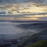 Buy canvas prints of Hope Valley Inversion and Sunrise  by Darren Galpin