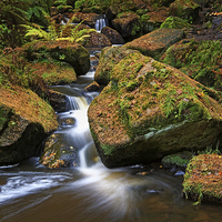 Buy canvas prints of Wyming Brook Falls in Autumn by Darren Galpin