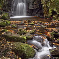 Buy canvas prints of Lumsdale Falls in Autumn  by Darren Galpin