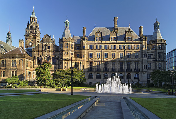 Sheffield Town Hall and Peace Gardens   Canvas print by Darren Galpin
