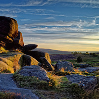 Buy canvas prints of Owler Tor Sunset                                by Darren Galpin