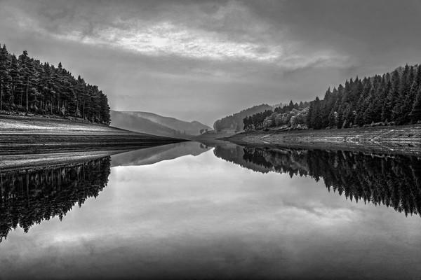 Howden Reservoir in Mono Canvas print by Darren Galpin