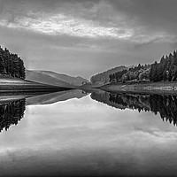 Buy canvas prints of Howden Reservoir in Mono by Darren Galpin