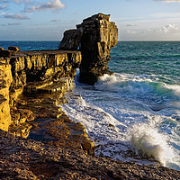 Buy canvas prints of Pulpit Rock and stormy seas                        by Darren Galpin