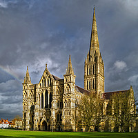 Buy canvas prints of Salisbury Cathedral with Rainbow                   by Darren Galpin