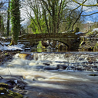 Buy canvas prints of Upper Coppice Weir & Packhorse Bridge, Rivelin by Darren Galpin