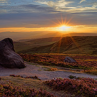 Buy canvas prints of Higger Tor Sunset                                by Darren Galpin