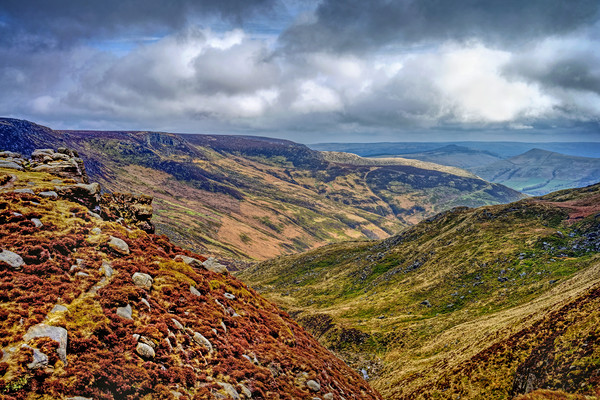 Grindsbrook from Kinder Scout  Canvas print by Darren Galpin