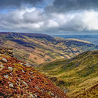 Buy canvas prints of   Grindsbrook from Kinder Scout  by Darren Galpin