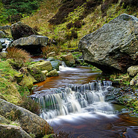 Buy canvas prints of Grindsbrook Clough Waterfalls                      by Darren Galpin