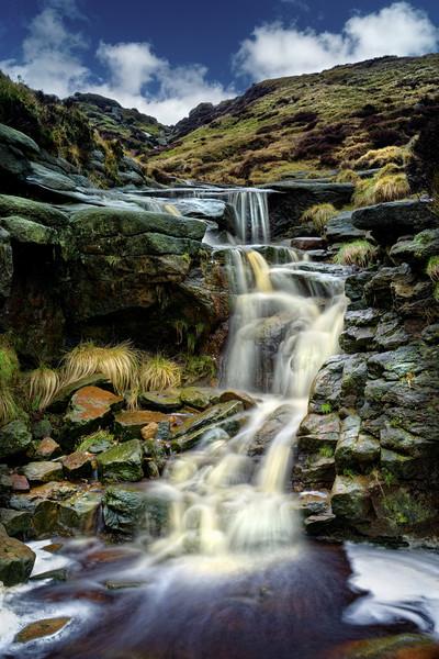 Crowden Clough Waterfalls                         Canvas Print by Darren Galpin
