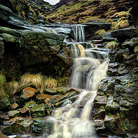Buy canvas prints of  Crowden Clough Waterfalls                         by Darren Galpin