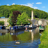 Buy canvas prints of Rochdale Canal at Hebden Bridge                    by Darren Galpin