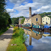 Buy canvas prints of Rochdale Canal at Hebden Bridge                    by Darren Galpin