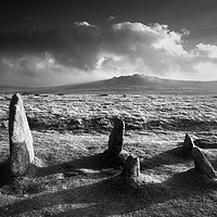Buy canvas prints of Merrivale Stone Rows Sunset  by Darren Galpin