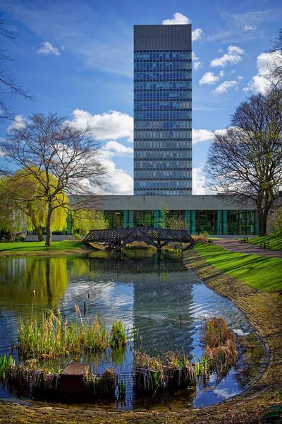 University Arts Tower & Weston Park Pond           Canvas Print by Darren Galpin