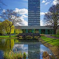 Buy canvas prints of University Arts Tower & Weston Park Pond           by Darren Galpin