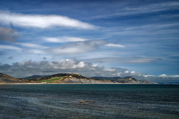 Charmouth to Golden Cap                      Canvas Print by Darren Galpin