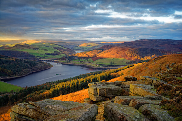 Ladybower from Bamford Edge   Framed Print by Darren Galpin