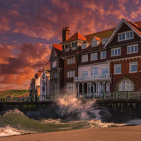 Buy canvas prints of High Tide at Sandsend by Darren Ball