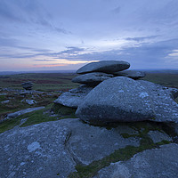 Buy canvas prints of Sunset on Stowes Hill Bodmin Moor by CHRIS BARNARD